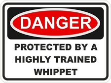 Dog Breed WHIPPET Danger Sticker Pet For Bumper Locker Car Door