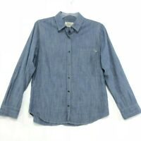 Purnell Chambray Shirt Womens Size L Large Blue Button Front Long Sleeve