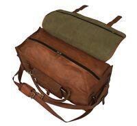 28 inch Mens Vintage Genuine Leather Flap Duffel Carry On Weekender Travel Bag