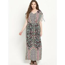 SO FABULOUS LADIES BORDER PRINT COLD SHOULDER JERSEY MAXI DRESS SIZE UK 20 BNWT
