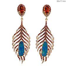 Fine 18k Yellow Gold Sapphire Gemstone Opal FEATHER Dangle Earrings Diamond Pave