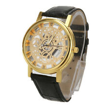Luxury Men's Skeleton Stainless Steel Hollow Leather Analog Quartz Wrist Watch