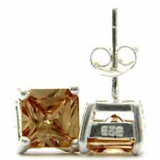 New sterling silver 3.46ct princess cut champagne Cz woman's stud earrings