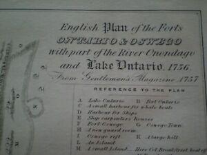 1756 English Plan For Ontario & Oswego For FRENCH & INDIAN   War circa 1850
