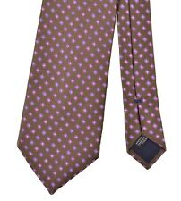 Canali Olive Green Woven Pink Spotted Thick Glossy Silk Tie