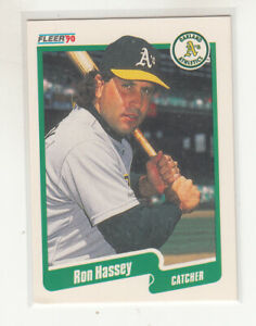 RON HASSEY 1990 Fleer Canadian Canada #8 Oakland A's NM