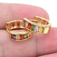 18K Yellow Gold Filled Women Multi-Color Rainbow Marquise Topaz Huggie Earrings