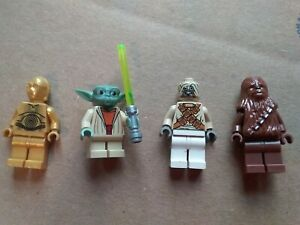 4 FOUR LEGO STAR WARS MINIFIGS CHEWBACCA C-3PO SAND PERSON YODA WITH LIGHTSABER