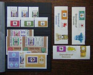 Grenada + Grenada Grenadines 1978 Coronation sets and Miniature sheets MNH