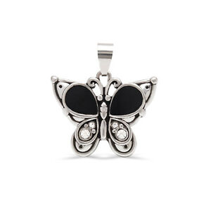 14K White Gold Butterfly for Women, Vintage Pendant with Cubic Zirconia