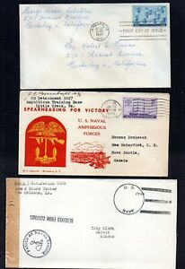 UNITED STATES WWII NAVY COVERS. 1 FREE FRANKING OPENED & PASSED BY CENSORS.