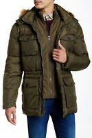 NEW Cole Haan Faux Fur Trim Anorak Down Fill Winter Olive Jacket Men's size XXL