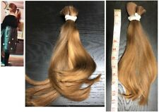 Human Hair Cut from Young Girl 12 Inch, Slight Wave Light Brown Red Undertone