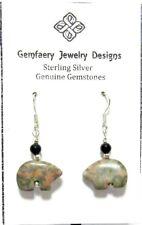Sterling Silver Carved OYSTER OPAL Bear Fetish Dangle Earrings...Handmade USA