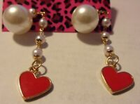 NWT BETSEY JOHNSON HEART RED CRYSTAL PEARL DANGLE STUD EARRINGS