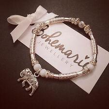 White howlite elephant charm silver tube bracelet gemstone bijoux jewellery
