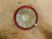 AYNSLEY tea cup and saucer Deep Red & gold gilt chintz inside teacup corset