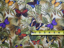 Garden Real Monarch Nature Butterfly Summer Ferns BY YARDS TT Cotton Fabric