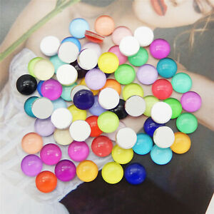 Round Candy Colors 6-15mm Glass Flatback Cabochon DIY Decor Accessories Crafts