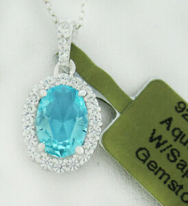 GEMSTONE 1.06 Cts AQUAMARINE & WHITE SAPPHIRE PENDANT NECKLACE .925 Silver * NWT