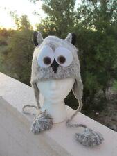 deLux NEW Gray OWL HAT knit ADULT ski cap FLC LINED costume rice university grey