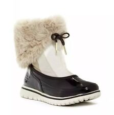 NEW SOREL Snowdance Pull On Boot Women's 8 Fawn Black Waterproof Nylon Leather