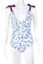 Shoshanna Womens Floral Print Deep V Tie Strap One Piece White Blue Size 4