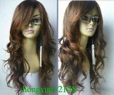 Nouvelle perruque brune bouclée à long cosplay plein + cadeau