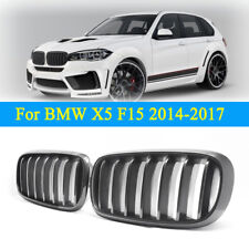 For BMW F15 X5 2014-2017 Front Bumper Kidney Hood Grill Grille Carbon Fiber Look