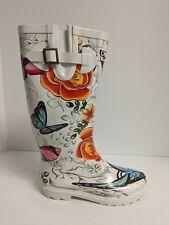Anuschka Tall Rain Boot, White Floral Paradise, Womens 7 M
