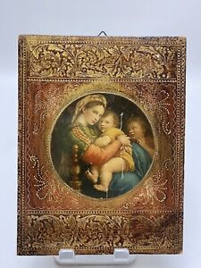Antique Made Italy Child Madonna Florentine Picture Gold Gilt Wood Small Plaque