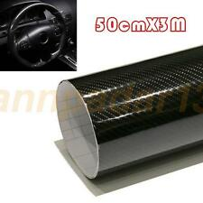 Luxury 5D 50cm*3M Premium High Gloss Black Carbon Fiber Vinyl Wrap Bubble