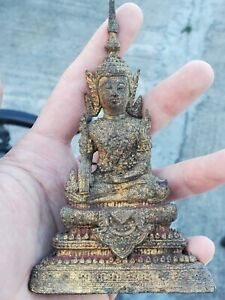 Antique Thai buddha bronze gilded statue,  5.1 inches