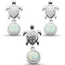 White Opal & Cz Turtle Earring & Pendant .925 Sterling Silver Set