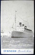 QUEEN OF BERMUDA -- Passenger List & Diary Booklet, 1960 -- Furness Bermuda Line