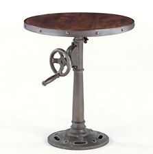 """24"""" Round table hand crank adjustable industrial design vintage finish iron made"""