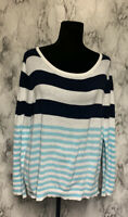 Lilly Pulitzer Size XL Blue & White Striped Pullover Sweater