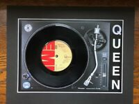 """Queen - Bohemian Rhapsody - Genuine 7"""" Single Mounted on Record Player Print"""
