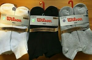 Men's Wilson 8 Pack COTTON Bl Cushioned LOW CUT or QUARTER Socks Sport Shoe 6-12