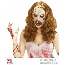 Donna Zombie Maschera Con Parrucca Lunga Accessorio Per TWD Halloween LIVING Walking Dead Fan