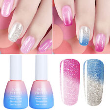 2Pcs Glitter Soak Off Thermolack Farbwechsel Gellack Nails UV Gel Born Pretty