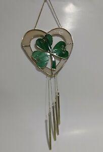 Celtic Stained Glass Shamrocks Hearts Windchime Suncatcher Lucky Clover