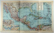 Original 1924 German Map of Central America by Meyers. Vintage