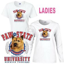 Norwich Terrier Paw State University Ladies Short Long Sleeve White T Shirt