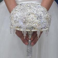 Newest Diamond Water Drop Wedding Bouquet Brooch Ivory Bride Hand Flowers Luxury