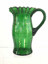 Antique emerald green glass pitcher, Riverside Glass or Dugen Glass 1890's