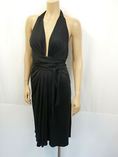 Issa London Stretch al cuello vestido de seda talla 42 uk16 us12 dress fruncido negro