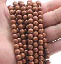 ['8mm Round Beauty Brown Natural gold sand Stone Biling Loose Bead 15''AAA