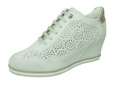 Womens Geox D Illusion B Suede Wedge Trainer-Boots Fashion Shoes Off-White