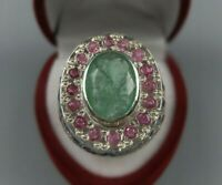 Natural Unheated Panjsher Zmurd Sterling Silver 925 Handmade Afghan Emerald Ring